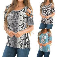 Women Off Shoulde Short Sleeves Leopard Snake Floral Printing Slim Top Blouse AU
