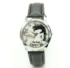 Elvis Presley The King Of Rock & Roll Leather Analog Quartz Wristwatch Black