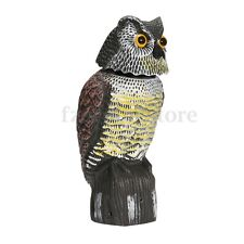 Realistic Owl Decoy Rotating Head Sound Shadow Control Bird Pigeon Crow Scarer