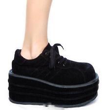 Retro Womens Platform Creeper Lace Up Punk Ankle Boots Shoes Fashion black shoes