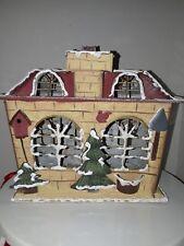 Christmas Hanging Tin Lantern House Tea Candle Holder