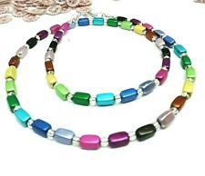 Regenbogen Kette Holz Perlen Perlenkette Chakra Aura farben 18 mm Magnetverschl.