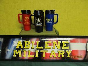 Tumbler Coffee Cup Army / Navy / Marine USMC Travel Mug Plastic 12oz