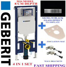 Geberit UP720 8CM TOILET FRAME + SIGMA BLACK GLASS plate + wall brackets + mat