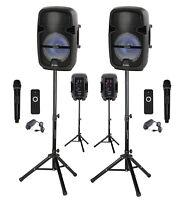 "Pair of 8"" portable Bluetooth DJ, PA  Speaker AC/DC, Mic, Light, Stand, USB, FM"