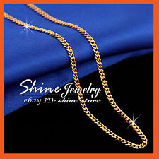 9K ROSE GOLD FILLED 2MM CURB CHAIN for pendant MEN LADY SOLID NECKLACE 45CM