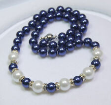 Beautiful! 8-10MM White / Blue South Sea Shell Pearl Round Beads Necklace AAA+