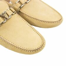 NWOB Louis Vuitton Tan Leather Lined LV Initials Driving Loafers 9US
