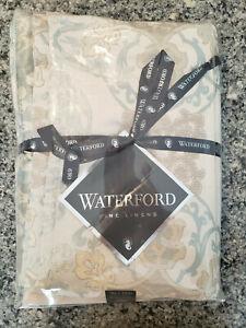 NEW Waterford Fine Linens Jonet Tablecloth - 70in x 126 in - Aqua & Cream