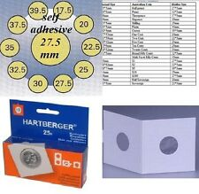 25 HARTBERGER self adhesive 2 x 2 coin holders:27.5 mm   made in the Netherlands