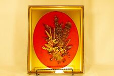 Vintage Dried Flowers And Feather Collage In Frame, 3D Floral And Feather Art
