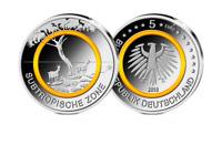 5 Euro Münze Deutschland Subropische Zone 2018 Münze mit orangem Polymerring
