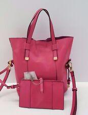 Halston Heritage Tote Large Leather Handbag w Leather Wallet (Fuchsia)