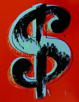 Dollar Sign Red (Sunday B. Morning) Limited Edition Silkscreen Andy Warhol w/COA