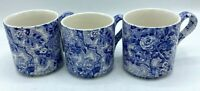 Vintage Laura Ashley CHINTZWARE BLUE Mug Cup Set of 3