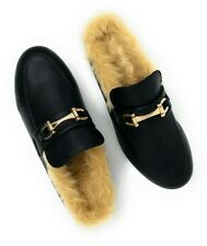 Womens Ladies Backless Loafer Mule Shoes With Faux Fur linings and Buckle 7/8