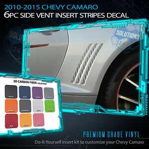 Fit 2010-2015 Chevy Camaro 6 Pcs Gill Vent Insert Stripes Decal 3D Carbon Fiber