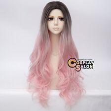 75CM Lolita Long Wavy Black Mixed Pink Ombre Dip Dye Hair Party Cosplay Wig+Cap
