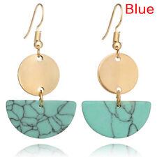 1pair Geometric Earring Marble Pattern Semi-round Drop Dangle Earrings Jewelry F Red