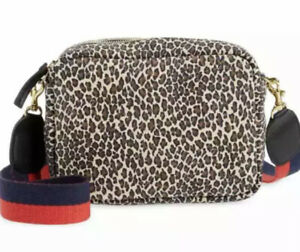 New CLARE V. Midi Sac Suede Mini Cat Leopard Print Bag $390.00