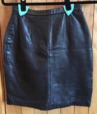 Superbe Michael Hoban North Beach en cuir noir jupe Sz 5/6