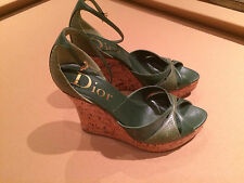 DIOR GREEN PLATFORM WEDGE SHOES SANDALS LEATHER & PYTHON EXCELLENT COND. 7 1/2