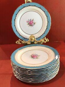 12 Aynsley Turquoise Eastbourne Flower Salad  Plates