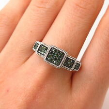 925 Sterling Silver Real Green Diamond Ring Size 9