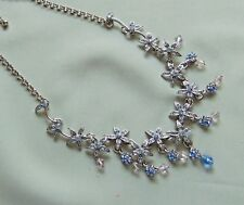 Blue Rhinestone Flower & Glass Charm Bead Drop Bib Necklace