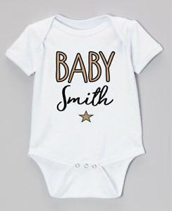 PERSONALISED unisex BABY clothing vest babygrow baby shower gift ANY SURNAME