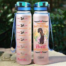 Motivational Water Tracker Bottle - Dachshund -  32 Oz Fruit Infusion