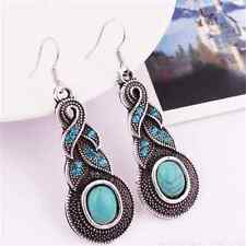 Women Stylish Natural Turquoise Crystal Tibet Silver Hook Dangle Earrings TR08