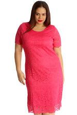 9ae7c8452b5aa Womens Dress Ladies Midi Tunic Floral Lace Short Sleeves Plus Size Nouvelle  Cerise 26-28