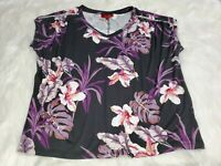 Jennifer Lopez Women Size XL Purple Embellished Short Sleeve Top Blouse U-12