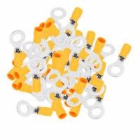 50 Pcs Ring Tongue Pre Insulated Terminals Connector Yellow for AWG 12-10 Cable