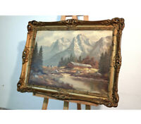Early 20th Century German Alpine Oil Painting Signed By 'Wohl Rene Leidner'