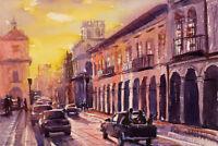 Watercolor painting of street in Cuenca, Ecuador. Fine art print of watercolor