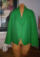 TALBOTS GREEN COLLARED SINGLE BUTTON WOOL BLAZER JACKET CAREER WOMEN SIZE 2