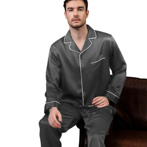 Mens Silk Satin  Pajamas - PJ Set  Top and Bottom