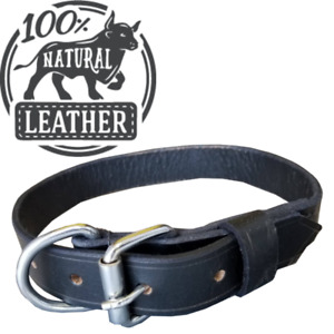 Leather Dog Collar For Big Dogs/Breeds Large 19-21 inches Black German Shepherd