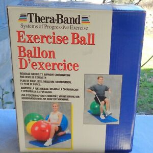 """New TheraBand Red Inflatable Exercise Ball 55cm Toning Strengthening 5'1"""" - 5'6"""""""