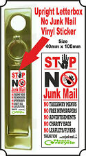 Upright / Vertical Letterbox Warning Sign, No Junk Mail Vinyl Decal Sticker LJM