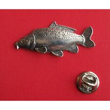 English Pewter  Fish Fishing LEATHER CARP Pin Badge Tie Pin / Lapel Badge F42