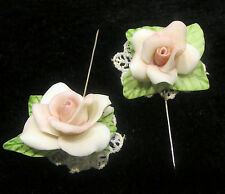 Cybis Porcelain Stick Pin Advertising Item.  Rose Flower Lace Background