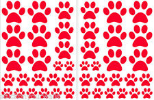 RED PAW PRINTS-2 sheets total of 44 pieces VINYL WALL DECAL STICKER DOG CAT