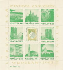 Poland label 1963 Philately Sport Stamps WROCLAW (sheet green num.green)