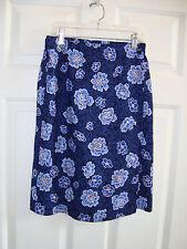 Sag Harbor Petites Blue Floral Design Polyester Faux Wrap Skirt 8P EUC