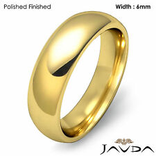 Solid 14k Gold Yellow Plain Dome Wedding Band Men Comfort Classic Ring 6mm 9.4gm