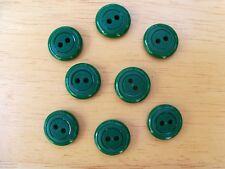 8 GREEN VINTAGE CIRCLE DESIGN CASEIN SCHWANDA Buttons NOS SEWING CRAFT 14mmx 4mm