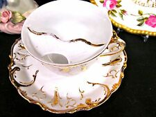 Germany Mustache tea cup and saucer gold gilt pattern teacup German unmarked